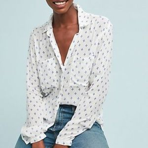 Anthro Cloth & Stone Blue Dot Pattern Blouse